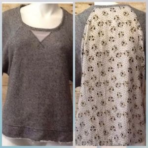 Anthropolgie sweatshirt floral & polka dots back